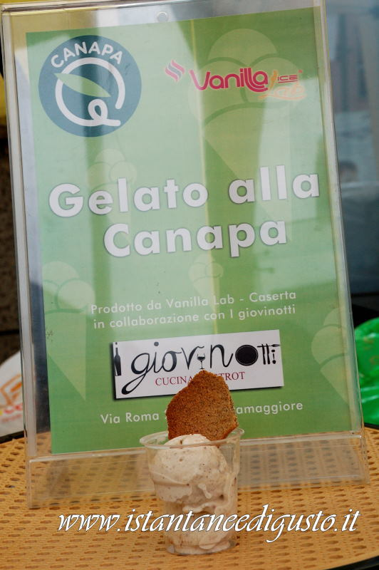 Gelato alla canapa della maestra gelatiera Pina Molitierno di Vanilla Ice Lab in collaborazione con I Giovinotti la Ristomacelleria