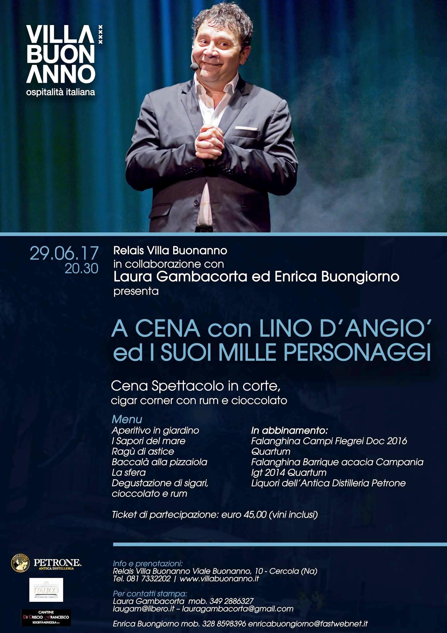 Il 29 giugno a Villa Buonanno di Cercola arriva il ciclone D'Angiò per una cena spettacolo in corte