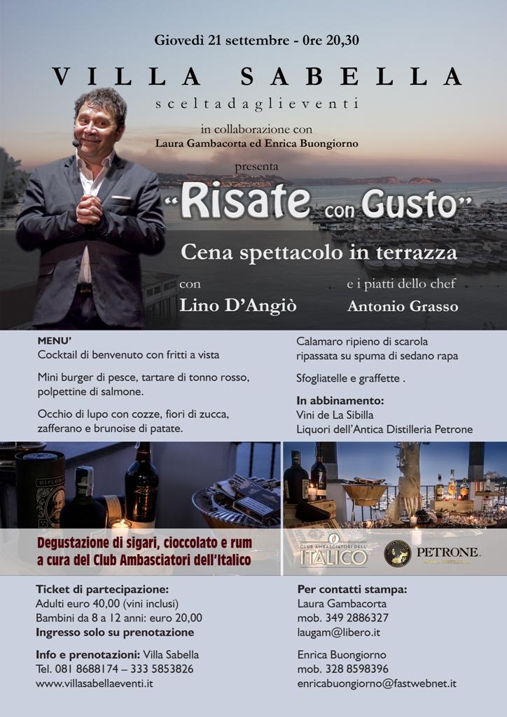 21 settembre Risate con Gusto cena spettacolo con Lino D'Angiò