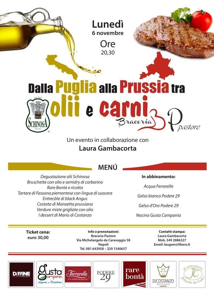 Il 6 novembre alla Braceria Pastore di Napoli viaggio tra carni e oli di qualità