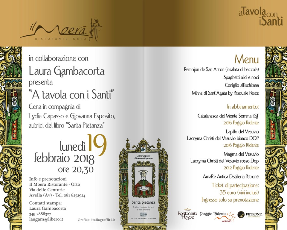 """19 febbraio al Moera """"A tavola con i Santi"""""""