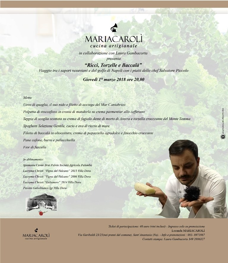 """Ricci, torzelle e baccalà"" alla Locanda Mariacarolì di Sant'Anastasia"